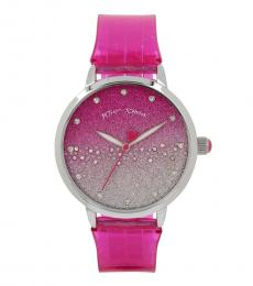 Betsey Johnson Pink Silicone Band Watch