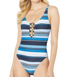 Navy Blue Striped One-Piece Suit
