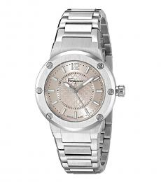Salvatore Ferragamo Silver-Pink Logo Watch