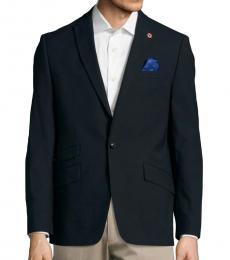 Ben Sherman Navy Blue Textured Wool Jacket