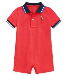 Ralph Lauren Baby Boys Evening Post Red Mesh Polo Shortall
