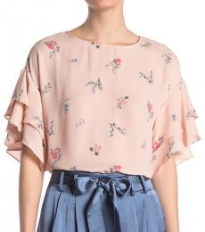 Vince Camuto Peach Floral Tiered Ruffle Sleeve Top