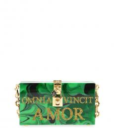 Dolce & Gabbana Green Amor Stiff Clutch