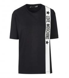 Love Moschino Black Classic Fit Logo Tee