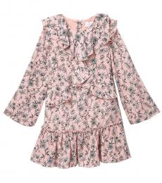 Girls Rose Petal Floral Crepe Ruffle Dress