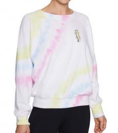 White Multi-Tie-Dyed Raglan Sweatshirt