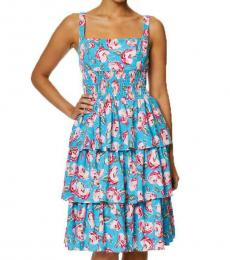 Betsey Johnson Island Blue Floral A-Line Tiered Ruffled Mini Dress