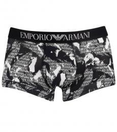 Emporio Armani Black Pattern Trunks