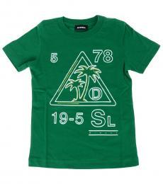 Diesel Little Boys Green Graphic Print T-Shirt