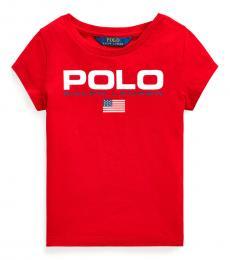 Ralph Lauren Little Girls Red Graphic T-Shirt