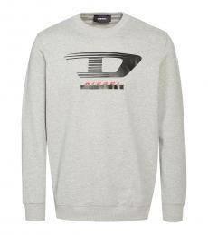 Diesel Light Grey Graphic Print Sweatshirt