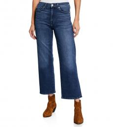 7 For All Mankind Blue Cropped Wide-Leg Jeans