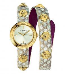 Versace Grey-Beige Medusa Stud Icon Watch