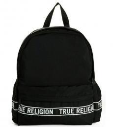 True Religion Black Logo Trim Large Backpack