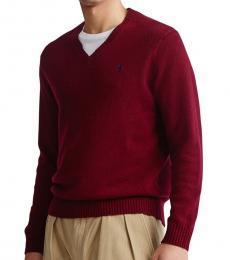 Ralph Lauren Burgundy Wool V-Neck Sweater