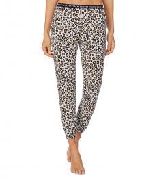 DKNY Leopard Print Cropped Knit Jogger Pajama Pants