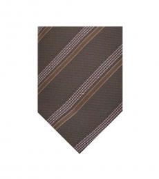 Armani Collezioni Brown Geometric Striped Tie