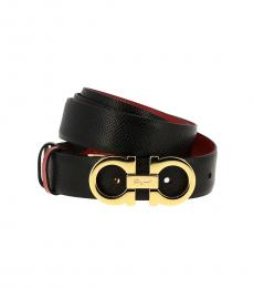 Salvatore Ferragamo Black-Red Logo Belt