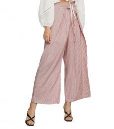 BCBGMaxazria Red Linen Striped Paperbag Pants