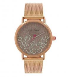Betsey Johnson Rose Gold Mesh Bracelet Watch