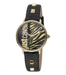 Just Cavalli Black Animal Print Dial Watch
