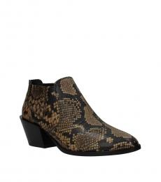 Tod's Brown Snake Print Leather Booties