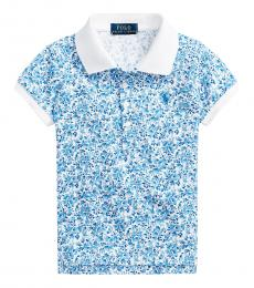 Little Girls White Blue Floral Stretch Mesh Polo