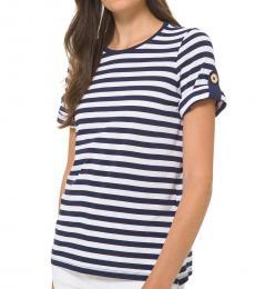 Michael Kors True Navy Striped Roll-Sleeve Shirt