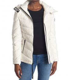 Michael Kors White Logo Trim Puffer Jacket