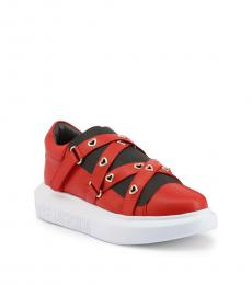 Love Moschino Red Strap Closure Sneakers