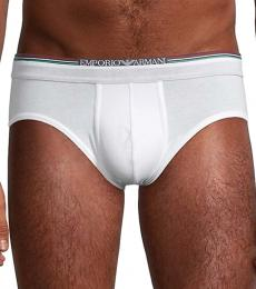 Emporio Armani White Striped Cotton Briefs