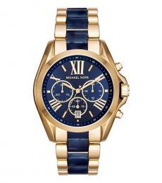 Michael Kors Blue-Gold Bradshaw Chronograph Watch
