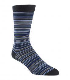 Cole Haan Navy Blue Multi Stripe Crew Socks