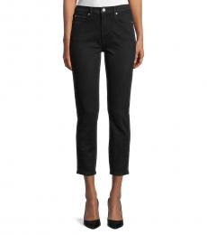 7 For All Mankind Black High-Rise Cropped Skinny Jeans