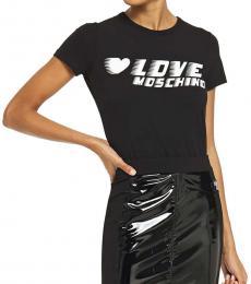 Black Glittered Printed T-Shirt