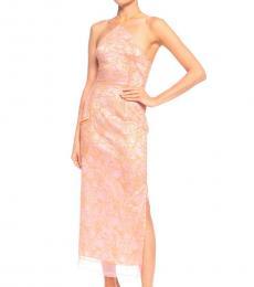 Pink Floral Embroidered Halterneck Dress