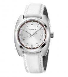 Calvin Klein White Achieve Silver Dial Watch