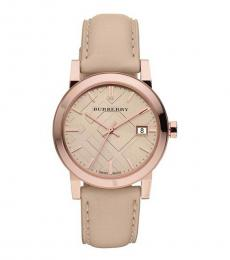 Burberry Rose Gold Classic Tan Dial Watch