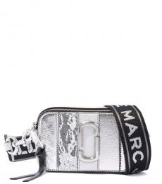 Marc Jacobs Silver Striped Snapshot Small Crossbody Bag