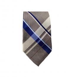 Michael Kors Brown Classic Plaid Slim Silk Tie