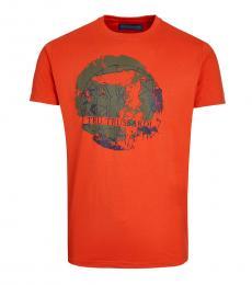 Orange Globe Print T-Shirt