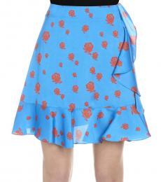 Kenzo Blue Ruffled Roses Print Skirt