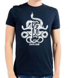 Roberto Cavalli Blue Graphic Print T-Shirt