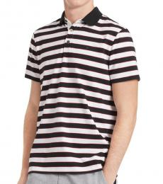 Calvin Klein White Liquid Touch Stripe Polo