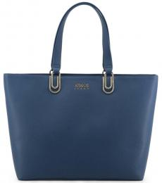 Blue Solid Large Tote