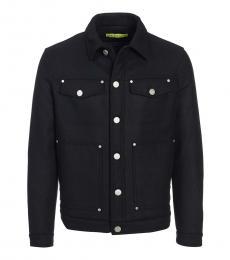 Black Regular Fit Wool Jacket