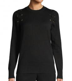 Black Lace-Up Cotton-Blend Sweater