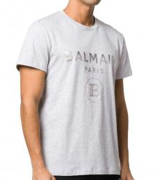 Light Grey Cotton Logo Print T-Shirt