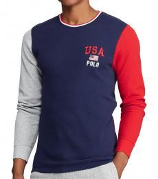 Ralph Lauren Cruise Navy Waffle-Knit Sweatshirt