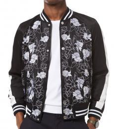 Black Floral Embroidered Varsity Jacket